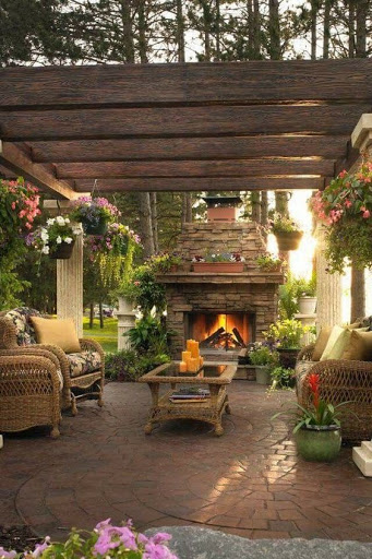 Shaded outdoor patio area