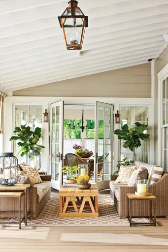 Light patio furniture in white outdoor living space