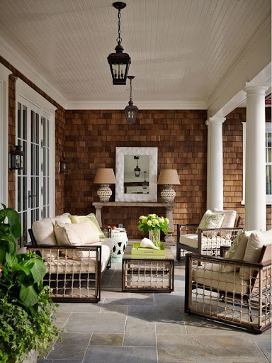 Dark patio furniture in outdoor living space - dark accents