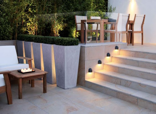 Soft lighting outdoor living area