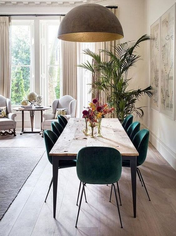 Large brown dome lighting hanging over dining table