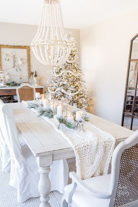 rustic white holiday dining room lighting
