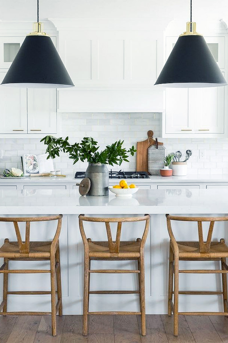 lighting trend - black as the new neutral hanging kitchen lighting