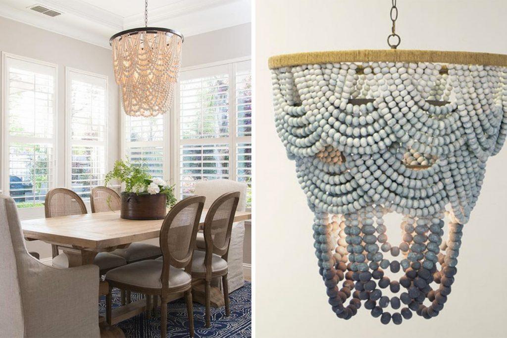 Lighting trend - living wood bead chandeliers