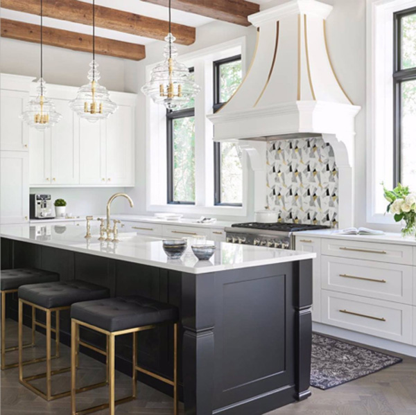 large glass lighting over kitchen counter