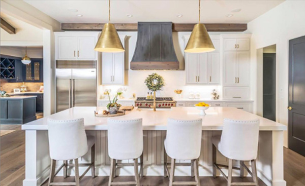 pendant kitchen lighting - spaced out gold kitchen pendants