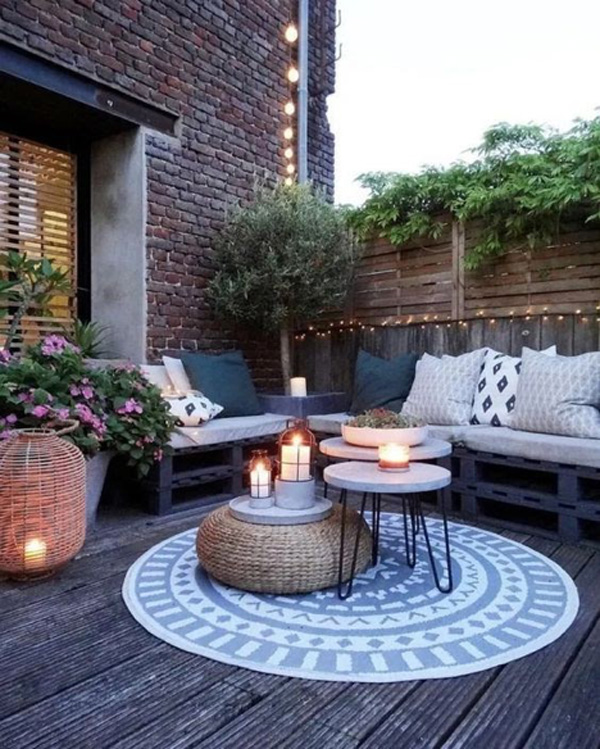 how to refresh your spring patio - outdoor seating and lights