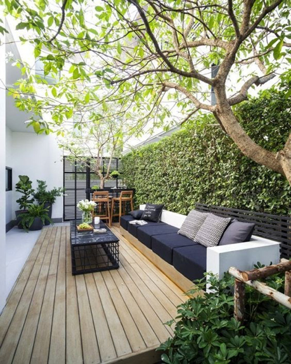 Small outdoor patio with seating