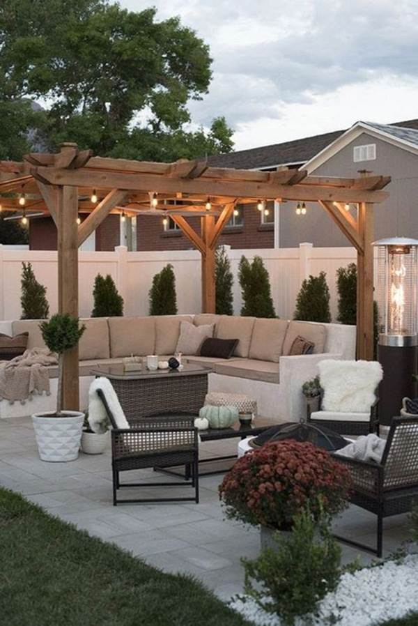 Small outdoor patio with hanging lights